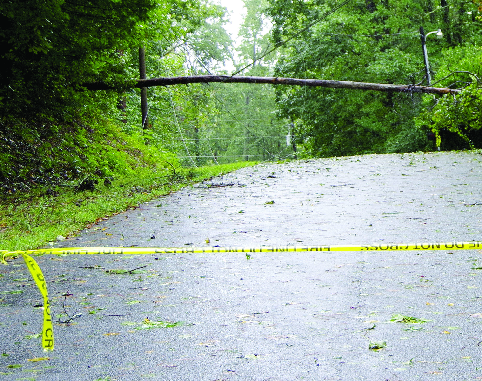 Roadways were marked with tape