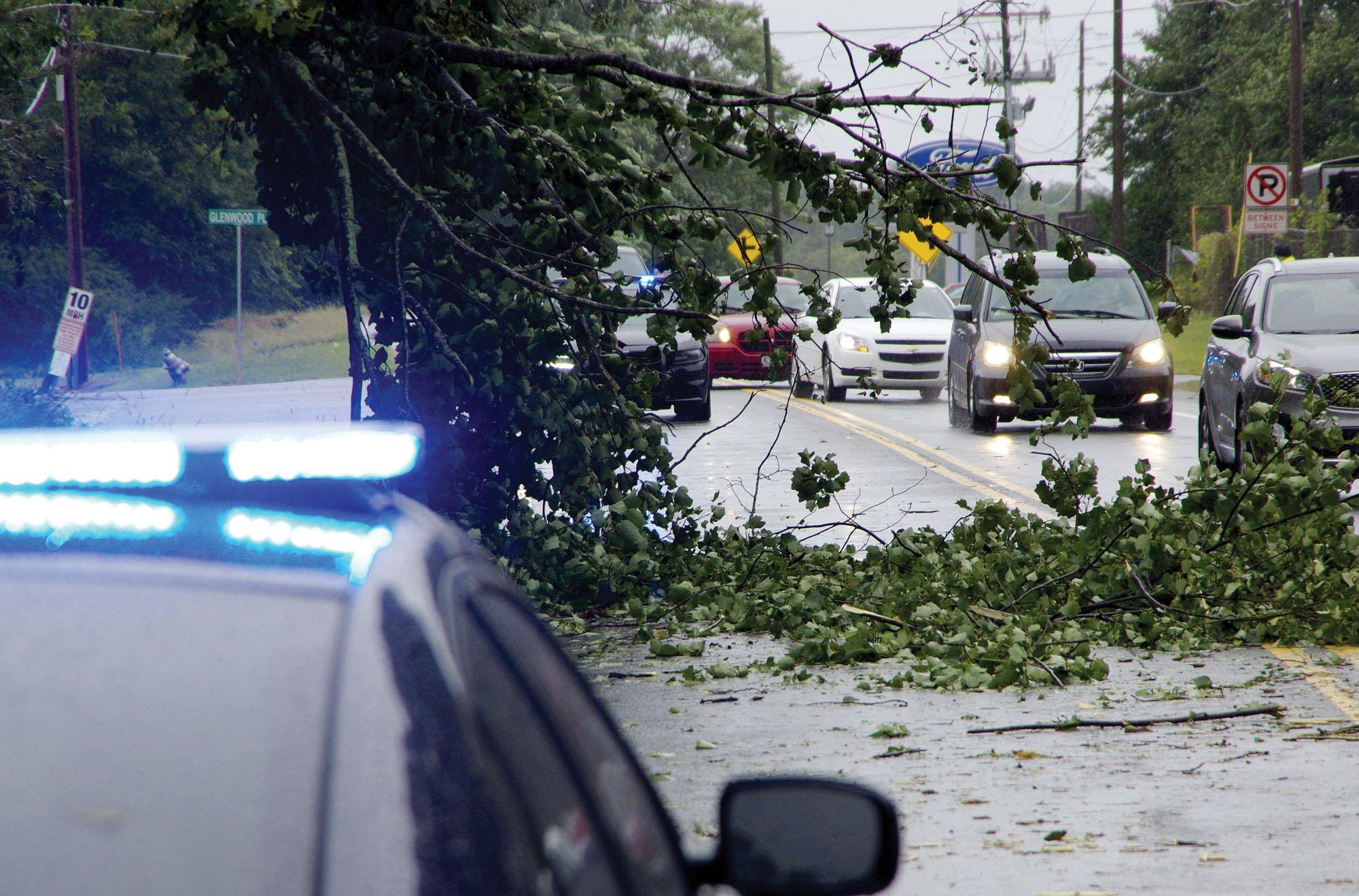 Atlanta Highway blocked at Piney Grove