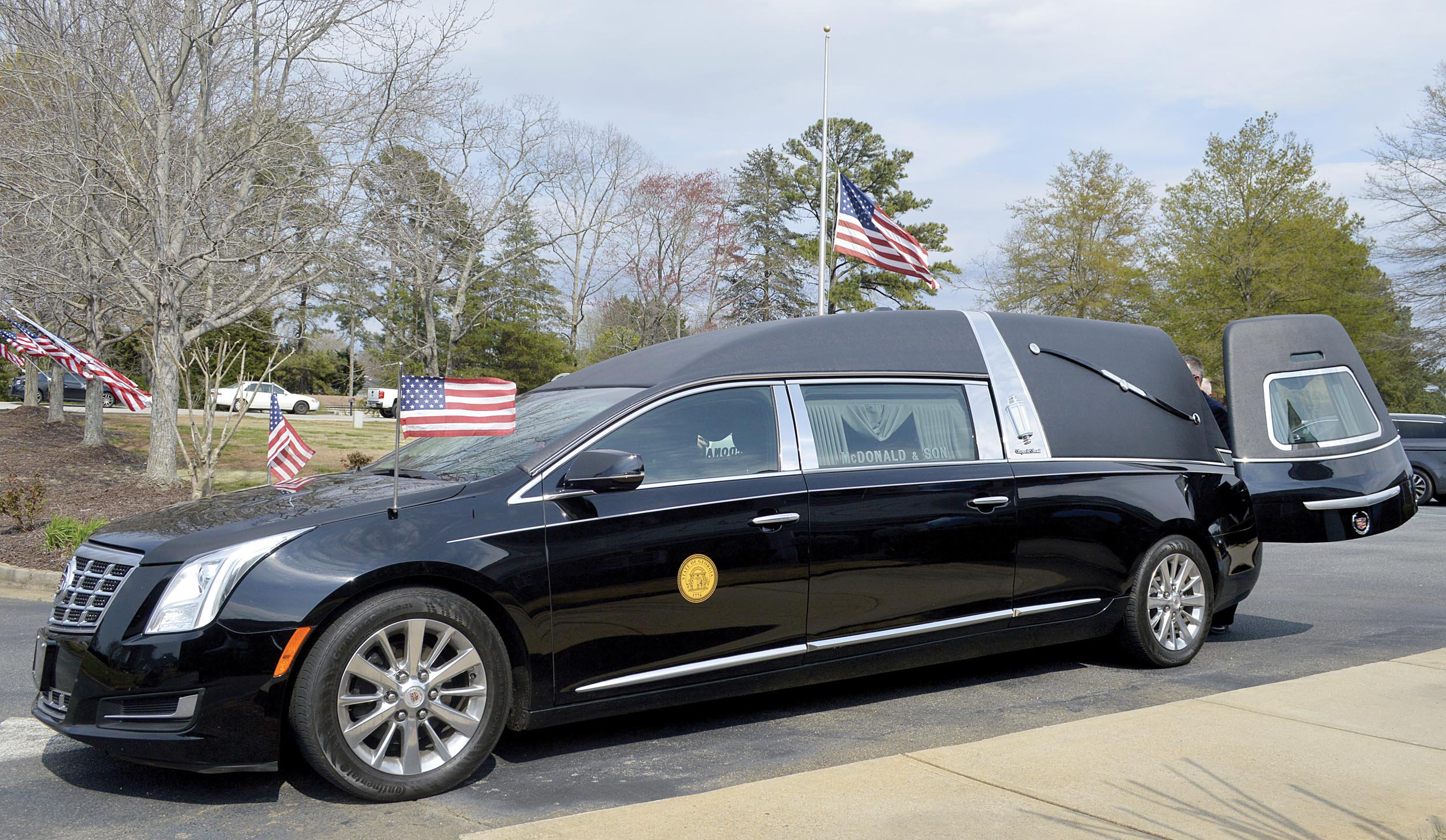 Hearse at funeral home