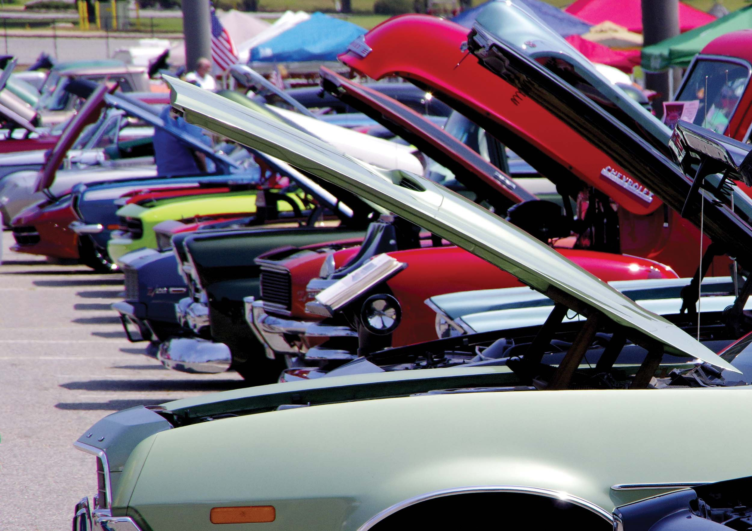 Rows of cars filled the fairgrounds for the show