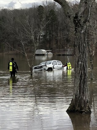 submerged truck